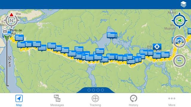 Delorme inreach Tracking map: Portel to Porto de Moz