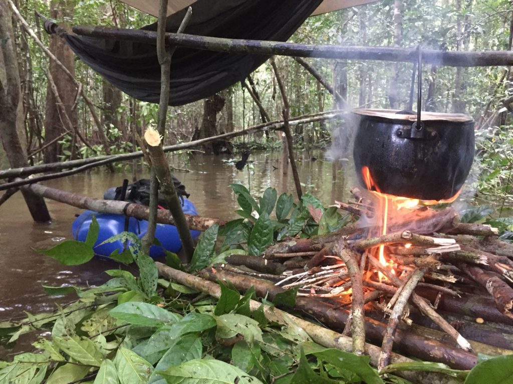 Cooking on a floating platform, Rio Breu, Juruá, Amazonas, Brazil
